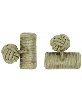 Ochre Silk Barrel Knot Cufflinks