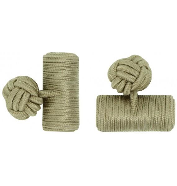 Ochre Silk Barrel Knot Cufflinks