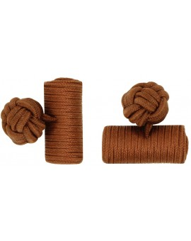 Brown Silk Barrel Knot Cufflinks