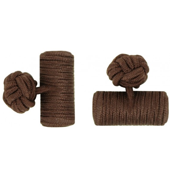 Dark Brown Silk Barrel Knot Cufflinks
