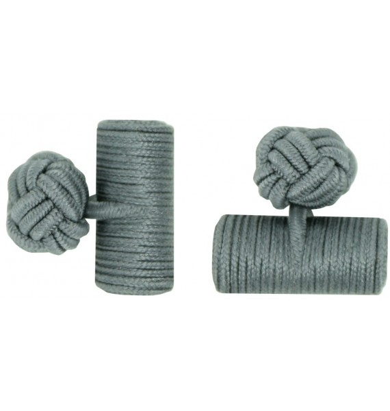 Grey Silk Barrel Knot Cufflinks