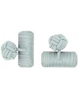 Light Grey Silk Barrel Knot Cufflinks