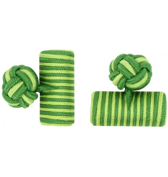Grass Green and Pistachio Green Silk Knot Cufflinks