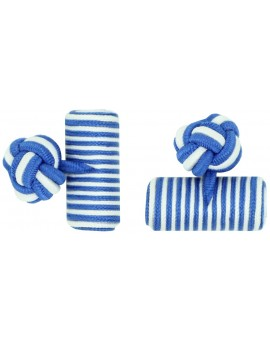 Cobalt Blue and White Silk Barrel Knot Cufflinks