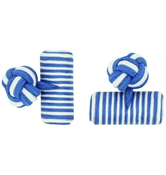 Cobalt Blue and White Silk Barrel Knot Cufflinks