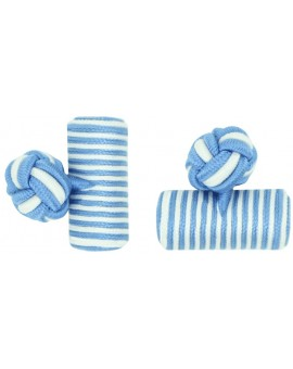 Light Blue and White Silk Barrel Knot Cufflinks