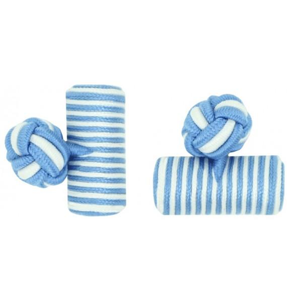 Light Blue and White Silk Barrel Knot Cufflinks