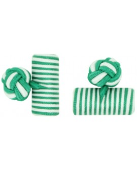 Green and White Silk Barrel Knot Cufflinks