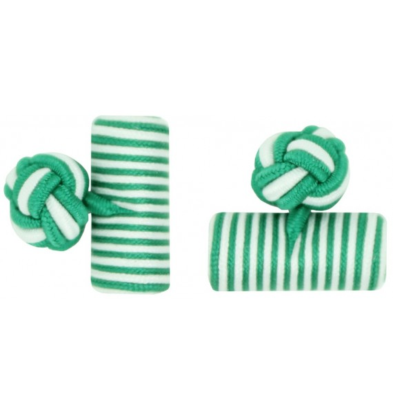 Green and White Silk Barrel Knot Cufflinks