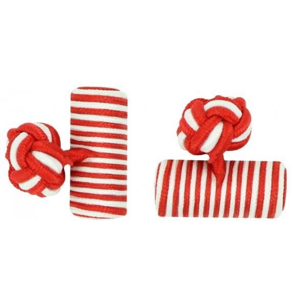 Deep Red and White Silk Barrel Knot Cufflinks