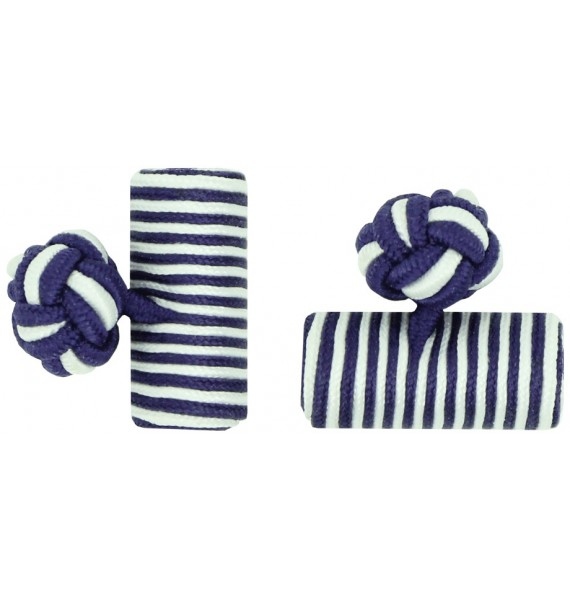 Purple and White Silk Barrel Knot Cufflinks