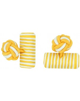 Dark Yellow and White Silk Barrel Knot Cufflinks