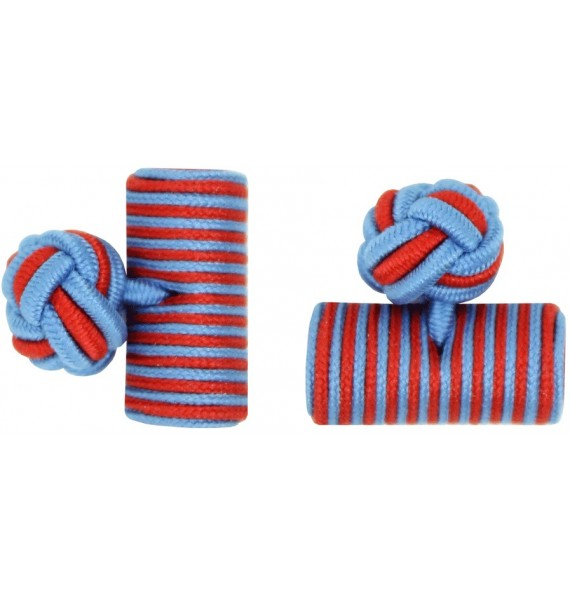 Light Blue and Deep Red Silk Barrel Knot Cufflinks