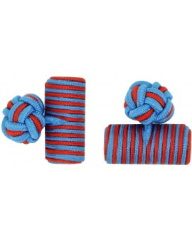 Blue and Deep Red Silk Barrel Knot Cufflinks