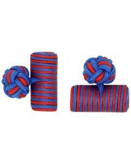 Cobalt Blue and Deep Red Silk Barrel Knot Cufflinks
