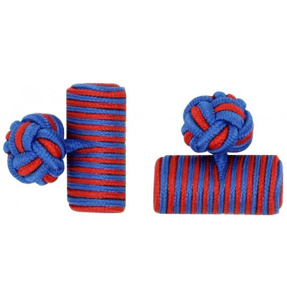 Cobalt Blue and Deep Red Silk Barrel Knot Cufflinks