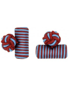 Dark Red and Light Blue Silk Barrel Knot Cufflinks