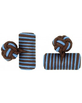 Dark Brown and Light Blue Silk Barrel Knot Cufflinks