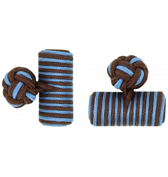 Dark Brown and Light Blue Silk Barrel Knot Cufflinks