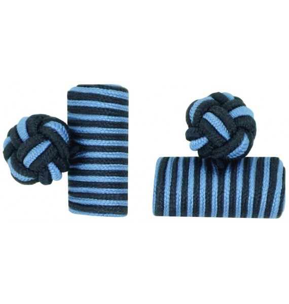Navy Blue and Light Blue Silk Barrel Knot Cufflinks