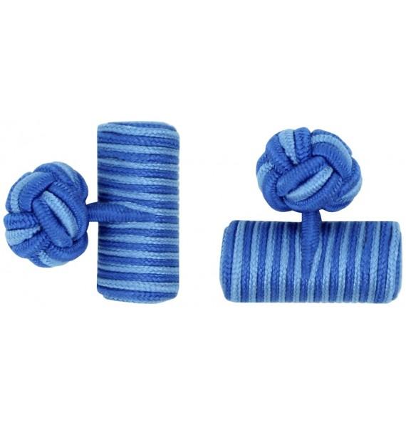 Cobalt Blue and Light Blue Silk Barrel Knot Cufflinks