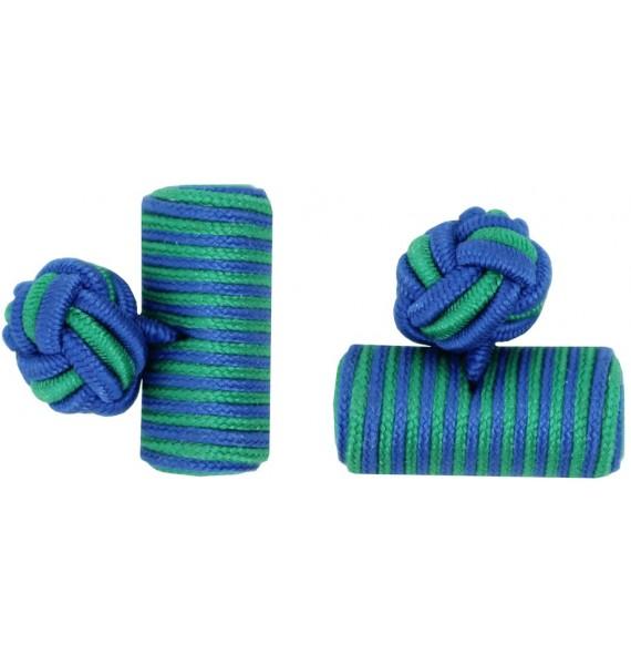 Cobalt Blue and Green Silk Barrel Knot Cufflinks