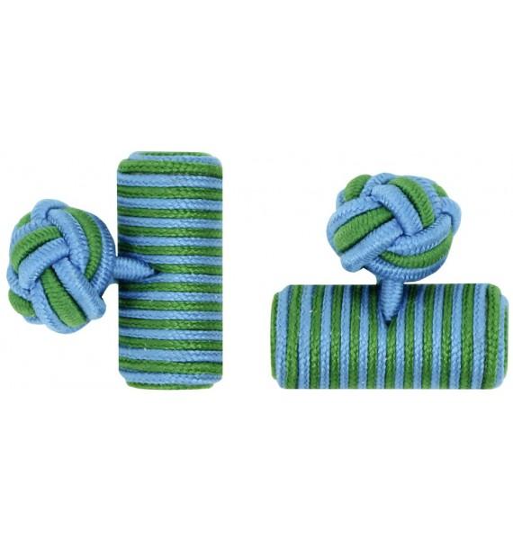 Light Blue and Grass Green Silk Barrel Knot Cufflinks
