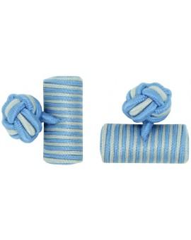 Light Blue and Light Grey Silk Barrel Knot Cufflinks