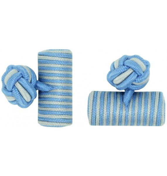 Light Blue and Light Grey Silk Barrel Knot Cufflinks