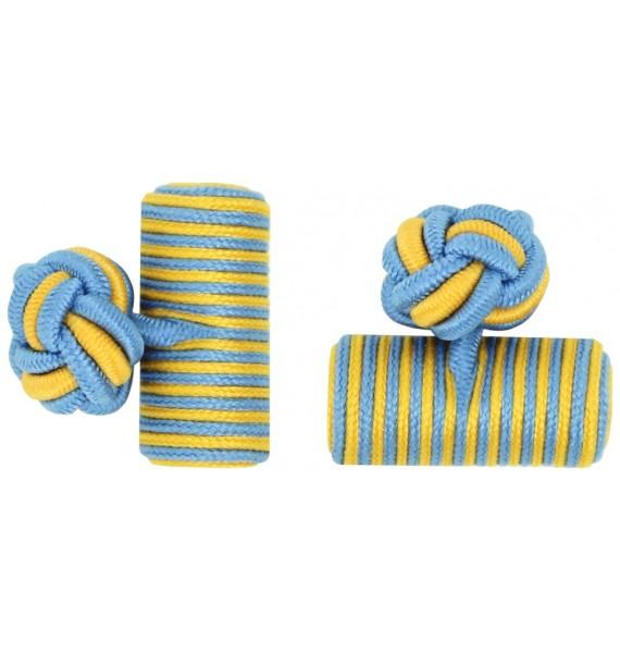 Light Blue and Dark Yellow Silk Barrel Knot Cufflinks