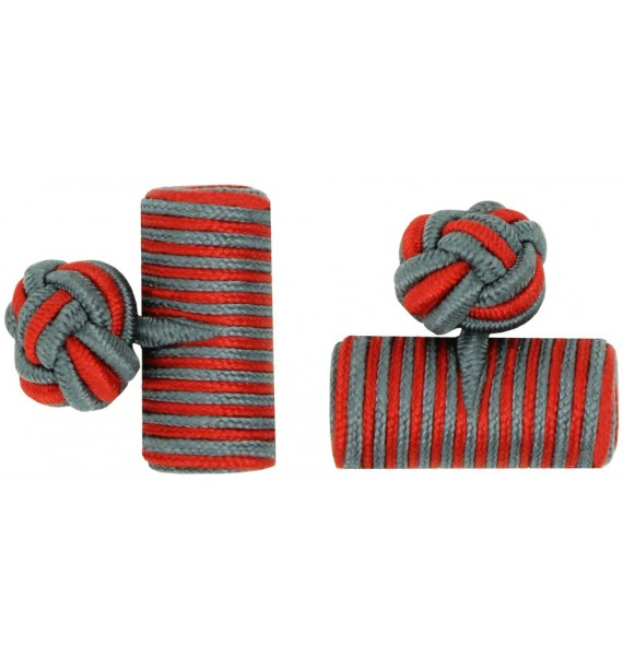 Grey and Deep Red Silk Barrel Knot Cufflinks