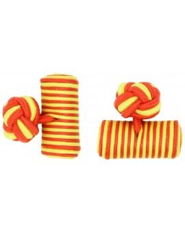 Red and Yellow Silk Barrel Knot Cufflinks