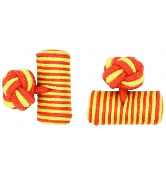 Red and Yellow Silk Barrel Knot Cufflinks