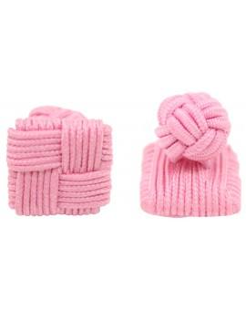 Pink Silk Square Knot Cufflinks