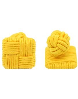 Dark Yellow Silk Square Knot Cufflinks