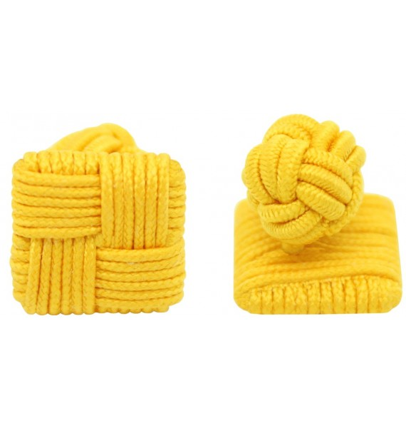 Dark Yellow Silk Square Knot Cufflinks