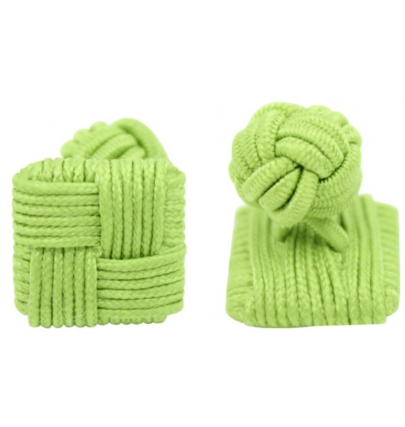 Pistachio Green Silk Square Knot Cufflinks