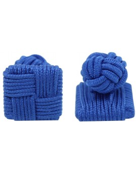Blue Silk Square Knot Cufflinks