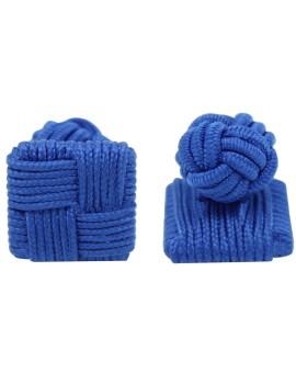 Blue Silk Square Knot Cufflinks