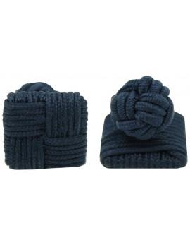 Navy Blue Silk Square Knot Cufflinks