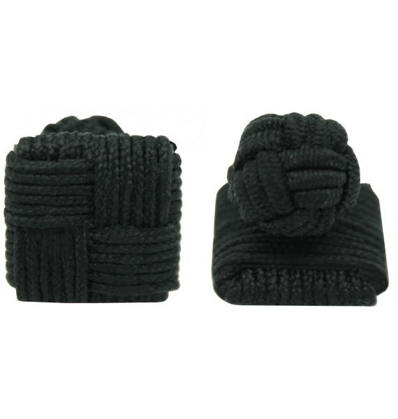 Black Silk Square Knot Cufflinks