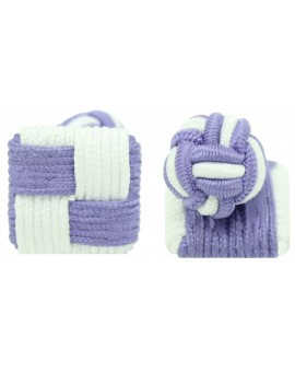 Purple and White Silk Square Knot Cufflinks