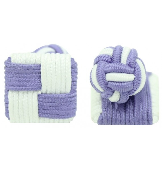 Purple and White Silk Square Knot Cufflinks
