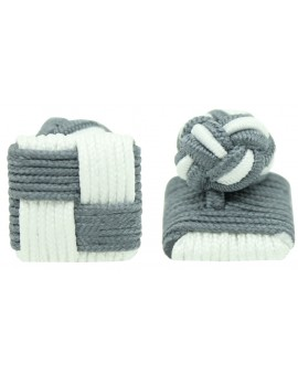 Grey and White Silk Square Knot Cufflinks