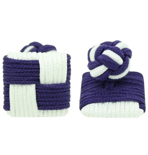 Dark Purple and White Silk Square Knot Cufflinks