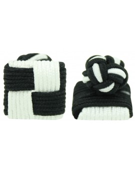 Black and White Silk Square Knot Cufflinks