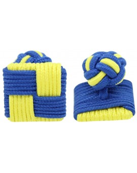 Blue and Yellow Silk Square Knot Cufflinks