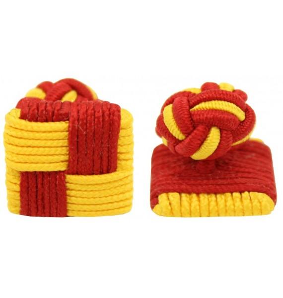 Red and Dark Yellow Silk Square Knot Cufflinks
