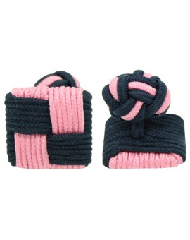 Navy Blue and Pink Silk Square Knot Cufflinks