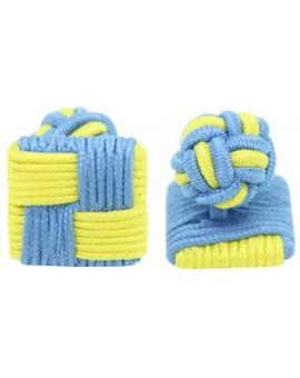 Light Blue and Yellow Silk Square Knot Cufflinks